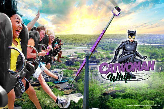 Catwoman Whip: For Catwoman Whip coming to Six Flags St. Louis in Missouri, pods at both ends of a 164-foot arm will turn and flip passengers, while the arm itself will rotate at 52 mph and send them flip-flopping high in the sky.