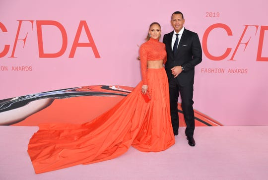 Jennifer Lopez and then-fiance Alex Rodriguez arrive for the 2019 CFDA fashion awards at the Brooklyn Museum in New York on June 3, 2019.
