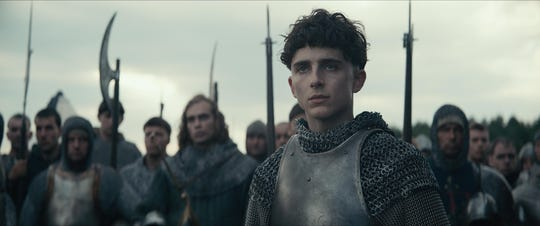 """The invasion of France by King Henry V (Timothee Chalamet) is at the center of Netflix's """"The King,"""" which pulls from Shakespeare's trilogy of plays about the English ruler."""