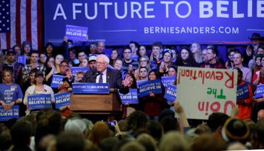 Democratic presidential candidate Bernie Sanders speaks at a rally Saturday, April 2, 2016, at UW-Eau Claire in Eau Claire, Wisconsin.