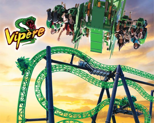 Montreal's Vipére will send riders spinning vertically in cars that will be located on either side of the coaster's ribbon of track.