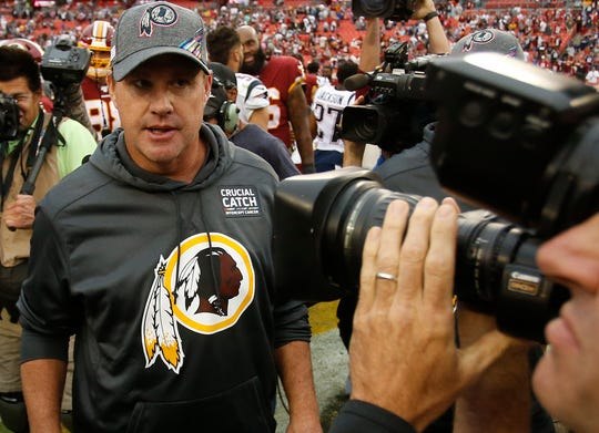 Washington head coach Jay Gruden walks off the field after the Redskins loss to the New England Patriots on Sunday, Oct. 6.