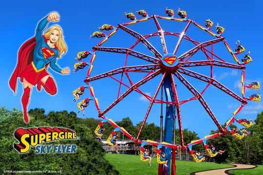As Supergirl Sky Flyer rises to an almost vertical position, the ride will resemble a demonic Ferris wheel.