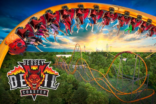 New Jersey's Devil Coaster's monorail track and navigate a twisted course that will include three inversions.