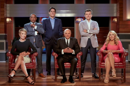 Barbara Corcoran, left, Daymond John, Mark Cuban, Kevin O'Leary, Robert Herjavec and Lori Greiner are nominated for a hosting Emmy this year.