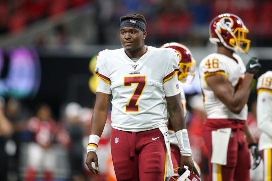 Washington Redskins quarterback Dwayne Haskins (7) on the field against the Atlanta Falcons in the second half at Mercedes-Benz Stadium.