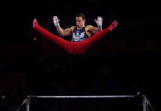 Samuel Mikulak of USA competes on the horizontal bar during the FIG Artistic Gymnastics World Championships on Oct. 7, 2019 in Stuttgart, Germany. (Photo by Laurence Griffiths/Getty Images)