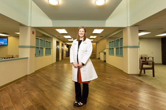 Dr. Sara Ritterling Patry, one of University of Kansas School of Medicine-Salina's first graduates, practices internal medicine in Hutchinson, Kan. (Aaron Patton for Kaiser Health News)