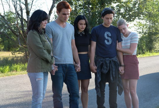 "Shannen Doherty stars with KJ Apa as Archie, Camila Mendes as Veronica, Cole Sprouse as Jughead and Lili Reinhart as Betty on ""Riverdale."""
