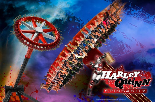 Harley Quinn Spinsanity: For Harley Quinn Spinsanity at Six Flags America in Upper Marlboro, Maryland, passengers in outward-facing seats will spin on a platform perched at the end of an arm that will swing 150 feet at a 120-degree angle and reach a robust 70 mph.