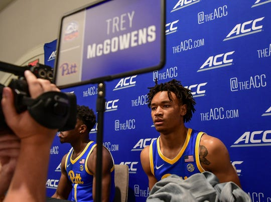 Pitt guard Trey McGowens talks with media during the 2019 ACC Operation Basketball event at the Charlotte Marriott City Center in Charlotte, N.C. Tuesday, October 8, 2019.