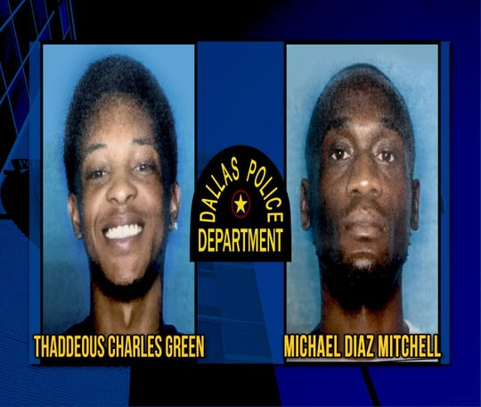 A photo from the Dallas Police Department shows two suspects in the Joshua Brown fatal shooting. Both men are from Alexandria, as is one in custody.