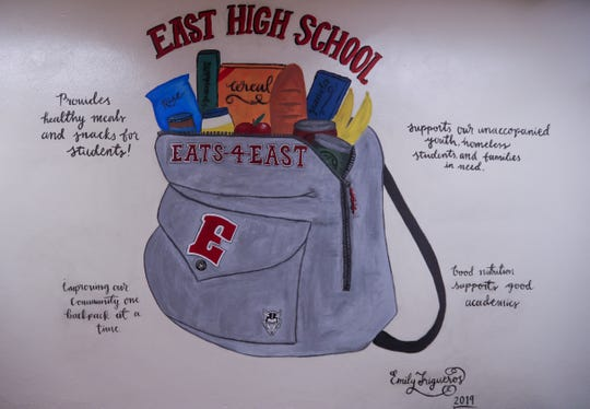 An East student created a mural outside of the school food pantry last year.