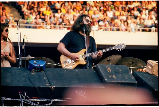 "Jerry Garcia of the Grateful Dead, pictured at Giants Stadium in East Rutherford on Sept. 2, 1978 in an image from ""Jerry Garcia: Secret Space of Dreams"" by Jay Blakesberg."