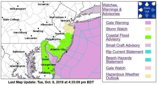 The bright-green sections of map were likely to see some coastal flooding Wednesday, according to the National Weather Service.