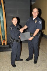 Former Officer Samantha Ortona is welcomed to the Bremerton Police Department by then-Capt. Jim Burchett in this department Facebook post from October 19, 2017. Burchett is now the chief.