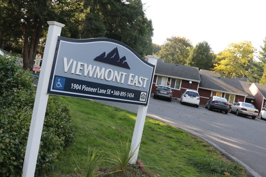 The sign for the Viewmont East apartments in Port Orchard on Saturday, Oct. 5.