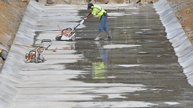 Progress continued Tuesday on the water routing project on the west side of the Golf Course of Bucyrus. The project will help move water from the Whetstone Street area north to the Sandusky River.