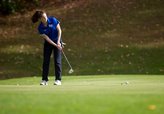 Lake Region's Tia Martinez rolls a birdie putt on the 11th hole during the Vermont high school girls golf state championships at Proctor-Pittsford Country Club on Tuesday, Oct. 8, 2019.