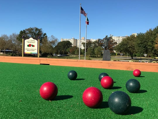Celebrity Charity: A new bocce court in Cooper River Park in Pennsauken is open for use following its dedication Saturday, Oct. 5, 2019, by the Camden County Board of Freeholders and Sons and Daughters of Italy in America chapters. The Christopher Columbus statue stands in the background.
