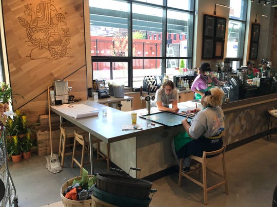Starbucks new store inside the downtown Kroger has limited seating.