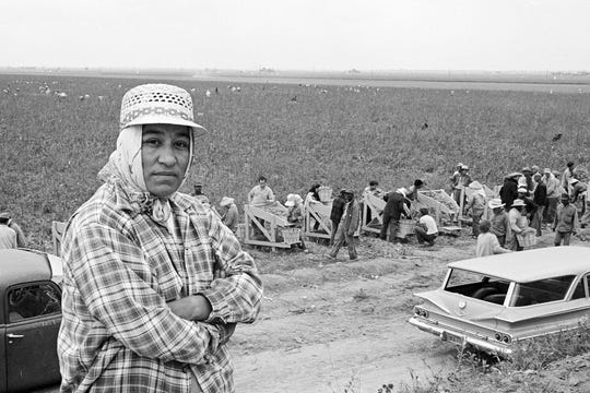 "Migrant mother Maria Moreno became the first farm-worker woman in America to be hired as a union organizer. With pea pickers harvesting in the background, Moreno wears the typical dress of women in the fields: a hat and scarf to protect them from sun, dust and pesticides. Raritan Valley Community College will present filmmaker Laurie Coyle and her 2018 documentary, ""Adios Amor: The Search for Maria Moreno,"" on Oct. 15."