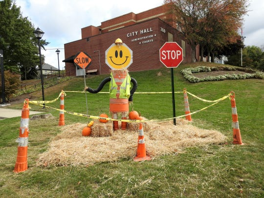 A Scarecrow Town display at Coshocton City Hall. The Clary Gardens Scarecrow Trail expanded to include the entire city this year, and will include the Scarecrow Town Festival on Oct. 26 on Main Street.