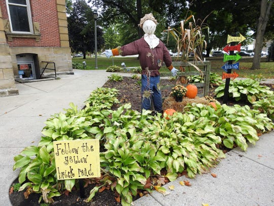 This scarecrow display with a Wizard of Oz theme is outside the Coshocton County Courthouse. The new Scarecrow Town Festival will be Oct. 26 on the Coshocton Court Square and artPARK with a costume contest, pet parade, live music and more.