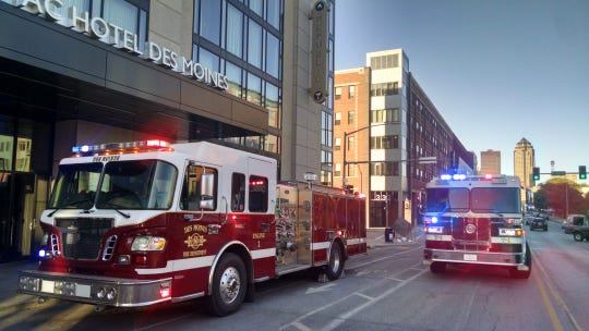 The Des Moines Moines Fire Department responded to a small structure fire at the AC Marriott Hotel Tues. Oct. 8, 2019.