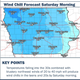 A graphic produced by the National Weather Service shows the wind chills expected across Iowa on Saturday, Oct. 12, 2019. Temperatures in the 30s combined with strong wind gusts will make for the coldest days of the season so far.