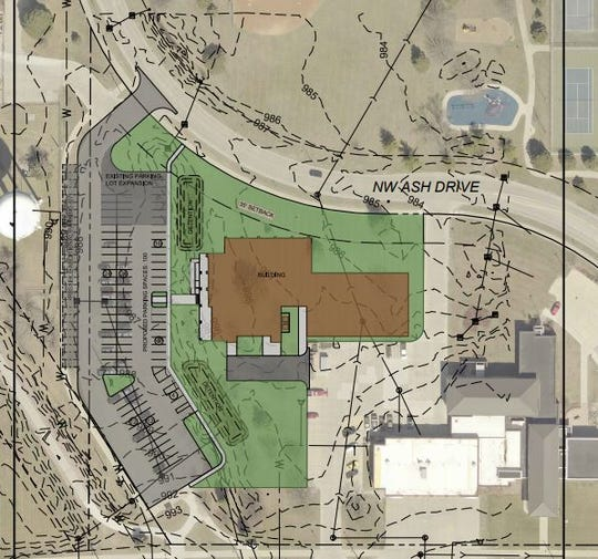 The above drawing shows the proposed community center along West First Street in Ankeny. The center, expected to open in late 2021, would provide daily meals and health screenings for senior citizens, as well as public recreation space on nights and weekends.
