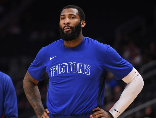 Pistons center Andre Drummond warms up before the preseason game against the Orlando Magic at Little Caesars Arena on Monday, Oct. 7, 2019.