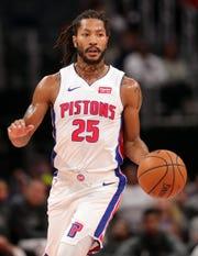 Pistons guard Derrick Rose.