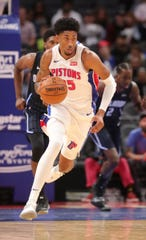 Detroit Pistons forward Christian Wood dribbles against Orlando Magic during the fourth quarter of a preseason game Monday, Oct. 7, 2019 at Little Caesars Arena.