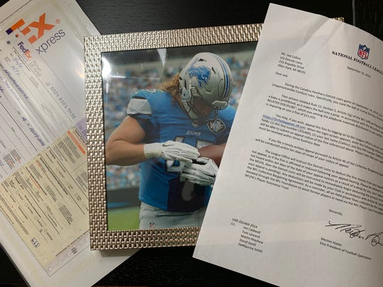 A copy of the fake fine letter that Lions quarterback Matthew Stafford tried to trick former running back Jed Collins with.