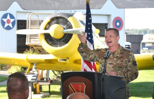 Brigadier General Rolf E. Mammen, commander of Selfridge Air National Guard Base and the 127th Wing, announces the Selfridge 2020 Open House and Airshow scheduled for June 2020, at the Selfridge Air Museum in Harrison Twp. Thursday.