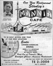 "Stanley's Mannia Cafe by Nathan Johnson is one of the only examples of ""Googie"" space-age design in Detroit. The building, now dilapidated, is at John R and Baltimore."