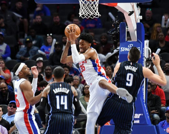 Christian Wood had 19 points and eight rebounds in the Pistons' preseason opener Monday.