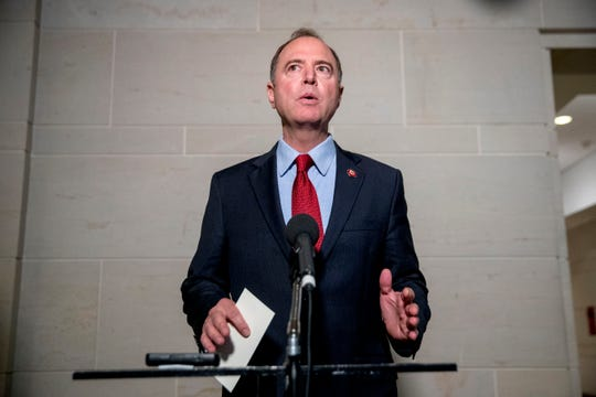Rep. Adam Schiff, D-Calif., Chairman of the House Intelligence Committee, gives a statement to members of the media on Capitol Hill in Washington, Tuesday, Oct. 8, 2019.