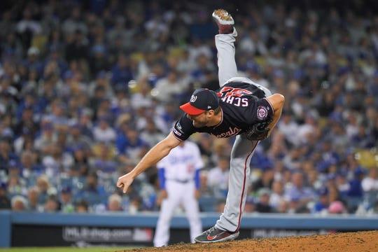 Washington Nationals pitcher Max Scherzer pitches in the eighth inning Monday.
