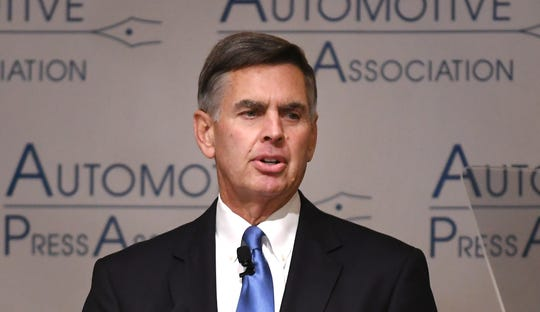 """National Automobile Dealers Association 2019 Chairman Charlie Gilchrist calls for Congress to """"expeditiously"""" pass the United State-Mexico-Canada trade agreement at the annual Automotive Press Association luncheon at the Detroit Athletic Club in Detroit, Tuesday."""