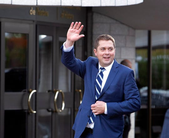 Conservative Leader Andrew Scheer arrives for the federal election leaders' debate in Gatineau, Quebec, on Monday Oct. 7, 2019.