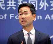 In this Wednesday, July 17, 2019 image from video, Chinese Foreign Ministry spokesman Geng Shuang speaks during a media briefing in Beijing.