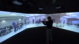 The system projects a 300 degree simulation to prepare police officers for real-life scenarios