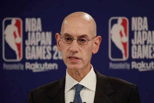 NBA Commissioner Adam Silver speaks at a news conference before an NBA preseason basketball game between the Houston Rockets and the Toronto Raptors Tuesday, Oct. 8, 2019, in Saitama, near Tokyo.