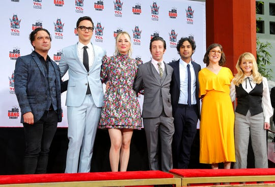 "In this May 1, 2019, file photo, Johnny Galecki, from left, Jim Parsons, Kaley Cuoco, Simon Helberg, Kunal Nayyar, Mayim Bialik and Melissa Rauch, cast members of the TV series ""The Big Bang Theory,"" pose at the TCL Chinese Theatre in Los Angeles."