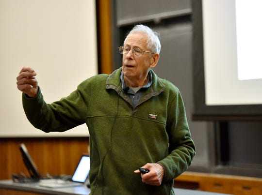 "In this 2016 photo provided by Princeton University, James Peebles speaks at the 43rd annual Donald R. Hamilton Lecture, at the university in Princeton, N.J. Peebles was among three scientists who won the 2019 Nobel Prize in Physics on Tuesday, Oct. 8, 2019. The prize was given to Peebles ""for theoretical discoveries in physical cosmology."""