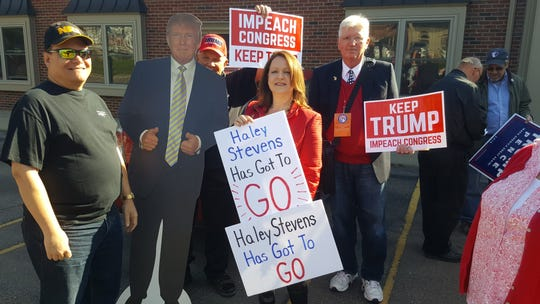 "Michigan Republican Chairwoman Laura Cox and about 35 Trump supporters held a news conference at the Rochester Hills Democrat's office to highlight what they call Stevens' opposition to the president and the White House's agenda in favor of what she termed a ""witch-hunt."""