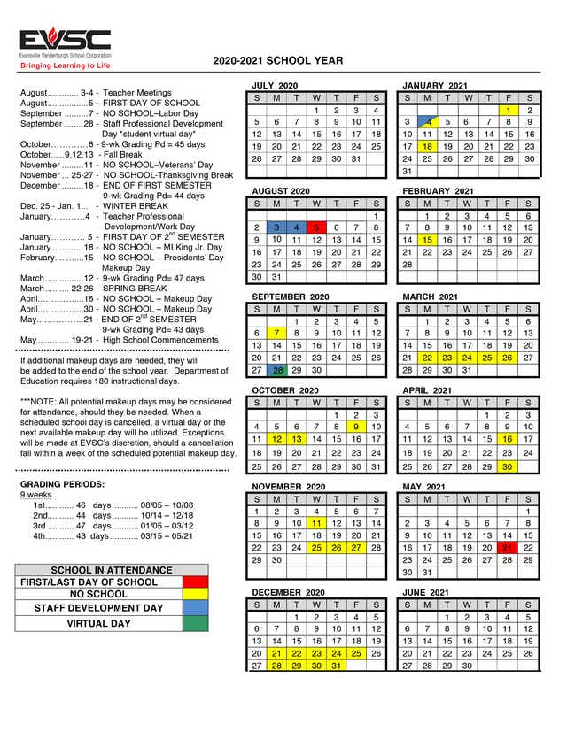 EVSC releases academic calendar for 2020 2021