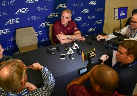 Virginia Tech Head Coach Mike Young, former Wofford University coach, speaks during the 2019 ACC Operation Basketball event at the Charlotte Marriott City Center in Charlotte, N.C. Tuesday, October 8, 2019.